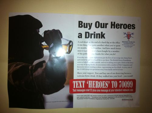 Buy our heroes a drink poster